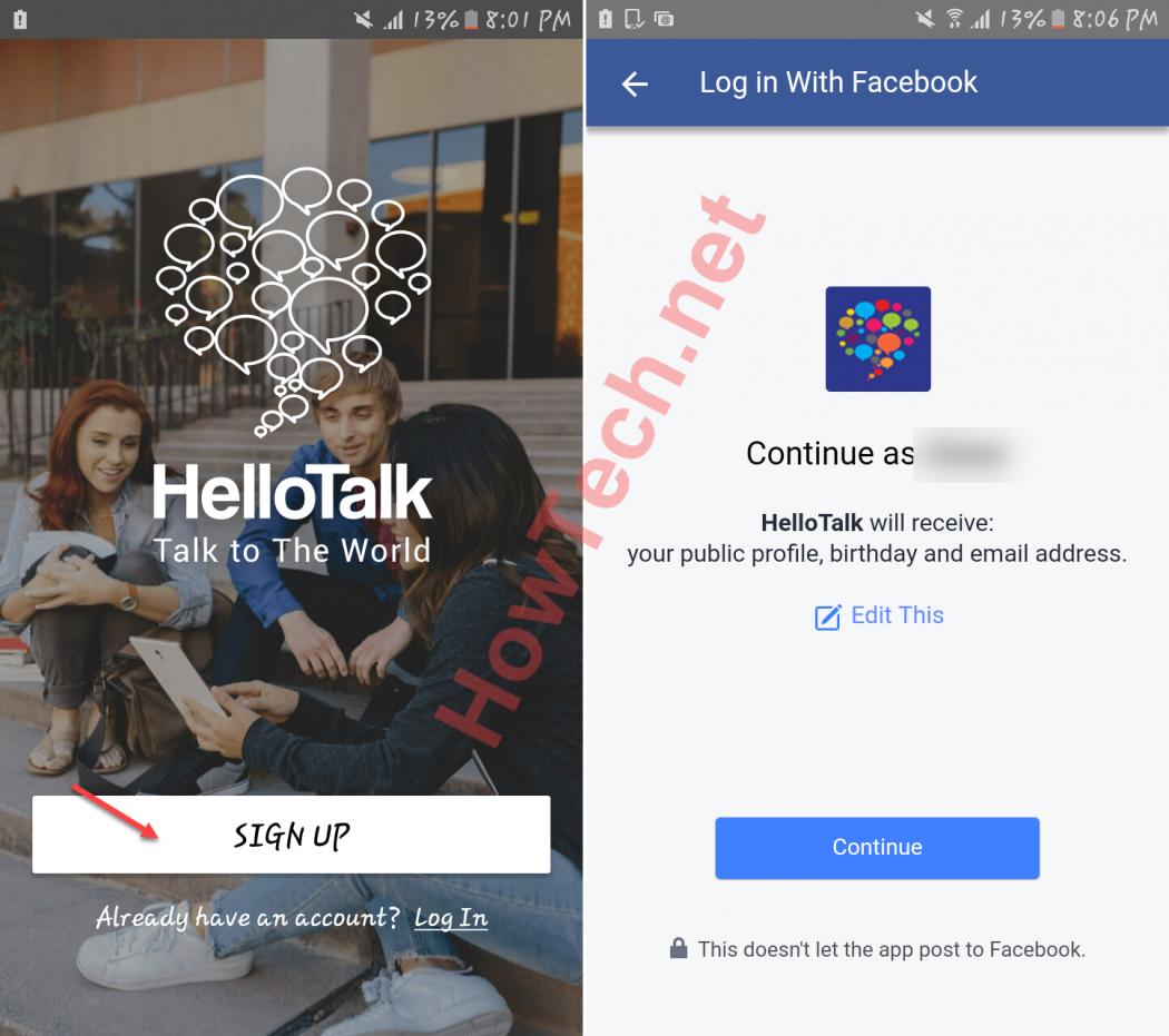 انشاء حساب في Hellotalk